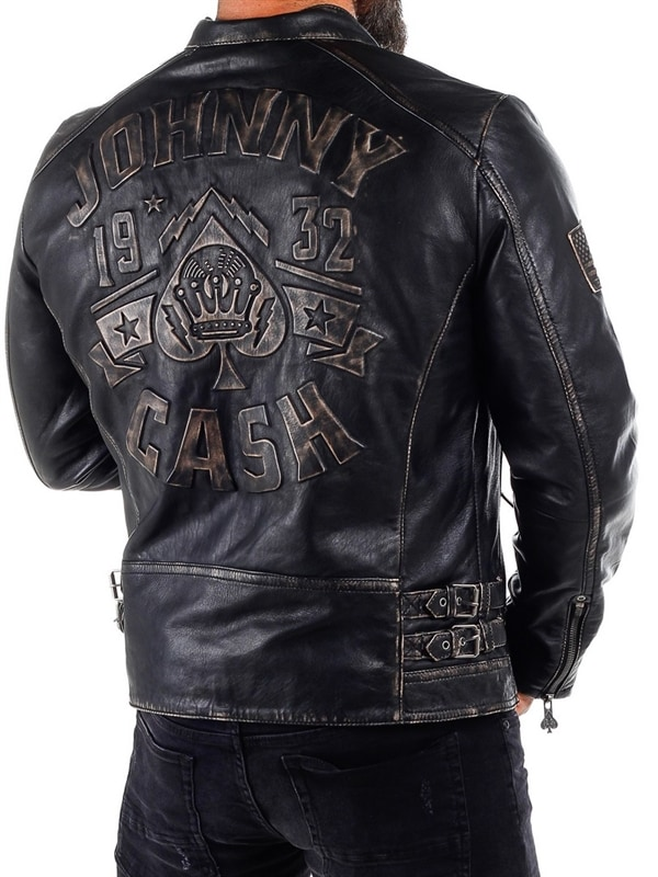 b9597696 Johnny Cash Skinnjakke - Dirty Black - RockDenim