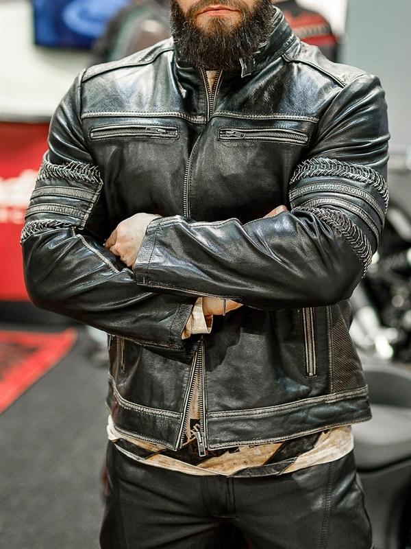 Power Rider Skinnjakke Svartbeige RockDenim