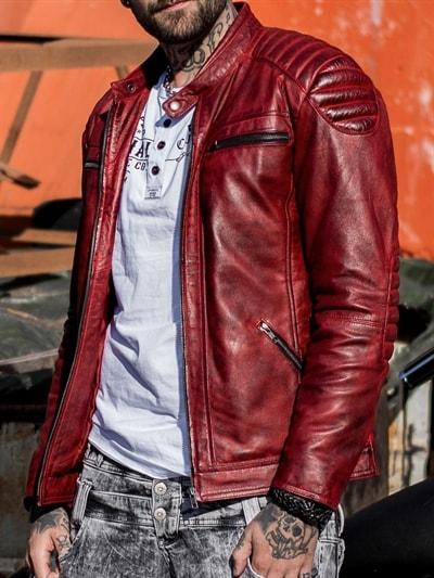 5b577d3a RD Byton Skinnjakke - Dirty Red